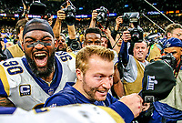 Los Angeles Rams head coach Sean McVay celebrates during the NFL football NFC championship game against the New Orleans Saints, Sunday, Jan. 20, 2019, in New Orleans.<br /> <br /> ( Tom DiPace via AP)