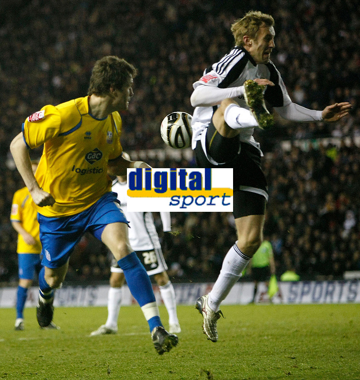 Photo: Steve Bond/Richard Lane Photography. Derby County v Crystal Palace. Coca Cola Championship. 06/12/2008. Paddy McCarthy (L) heads for goal. Rob Hulse (R) tries to block