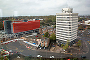 The new multi story car park and Eaton house outside Coventry train station on the 28th of April 2021, Coventry, United Kingdom.  The train station in Coventry is currently being redeveloped as part of an £82 million project for the Coventry UK City of Culture 2021.