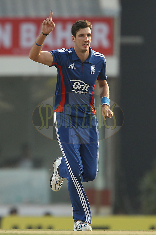 Steve Finn of England celebrates the wicket of Ajinkya Rahane of India during the 3rd Airtel ODI Match between India and England held at the JSCA International Stadium Complex, Ranchi, India on the 19th January 2013..Photo by Ron Gaunt/BCCI/SPORTZPICS ..Use of this image is subject to the terms and conditions as outlined by the BCCI. These terms can be found by following this link:..http://www.sportzpics.co.za/image/I0000SoRagM2cIEc