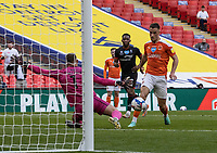 Blackpool's Jerry Yates breaks on goal <br /> <br /> Photographer Andrew Kearns/CameraSport<br /> <br /> The EFL Sky Bet League One Play-Off Final - Blackpool v Lincoln City - Sunday 30th May 2021 - Wembley Stadium - London<br /> <br /> World Copyright © 2021 CameraSport. All rights reserved. 43 Linden Ave. Countesthorpe. Leicester. England. LE8 5PG - Tel: +44 (0) 116 277 4147 - admin@camerasport.com - www.camerasport.com