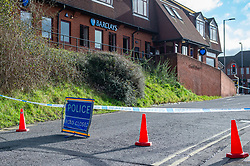 © Licensed to London News Pictures. 25/02/2020. Gerrards Cross, UK. Police closed the entrance to Gerrards Cross train station after an ATM at a Barclays Bank was targeted in an overnight robbery. Photo Credit: Peter Manning/LNP