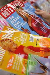 Display of glossy dieting magazine,