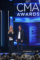 52nd Annual CMA Awards form the Bridgestone Arena hosted by Carrie Underwood and Brad Paisley. 14 Nov 2018 Pictured: Trisha Yearwood and Dennis Quaid. Photo credit: MBS/MEGA TheMegaAgency.com +1 888 505 6342