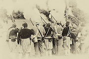 """USA, Oregon, Brooks, Willamette Mission State Park, Confederate infantry """"clear the guns""""."""