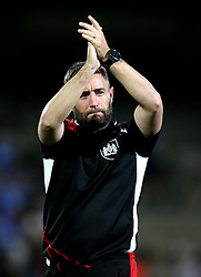 Bristol City head coach Lee Johnson applauds the fans after the win against Scunthorpe United - Mandatory by-line: Robbie Stephenson/JMP - 23/08/2016 - FOOTBALL - Glanford Park - Scunthorpe, England - Scunthorpe United v Bristol City - EFL Cup second round