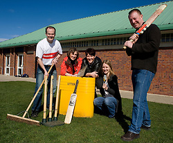 Volunteers from NatWest  help Handsworth Cricket Club based at the Handsworth Junior Sporting Club as part of the NatWest Cricket Force initiative. left to right Natwest Senior Bank Manager Outer Sheffield Colin Waddington, Jane Dyson NatWest Broomhill Branch manager, Helen Waddington and Sarah Hudson Natwest Customer Service Officers with Simon Thacker Handsworth Cricket Club Secretary.  27 March 2010.Images © Paul David Drabble.