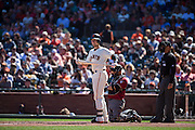 San Francisco Giants catcher Buster Posey (28) waits for a pitch against the Arizona Diamondbacks at AT&T Park in San Francisco, Calif., on August 31, 2016. (Stan Olszewski/Special to S.F. Examiner)