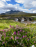 Sligachan Old Bridge and Black Cuillin mountain range on Isle of Skye, Scotland, United Kingdom, Europe. This image was stitched from several overlapping photos.