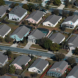 Aerial photograph of  Orlando Florida neighborhood, housing developments, DRONE VIEW OF HOUSES
