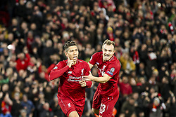 October 24, 2018 - Liverpool, England, United Kingdom - Liverpool forward Roberto Firmino (9) celebrates with Liverpool midfielder Xherdan Shaqiri (23) after scoring his goal during the Uefa Champions League Group Stage football match n.3 LIVERPOOL - CRVENA ZVEZDA on 24/10/2018 at the Anfield Road in Liverpool, England. (Credit Image: © Matteo Bottanelli/NurPhoto via ZUMA Press)