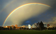 A rainbow over the city seen from Downtown Park in Bellevue. (Steve Ringman /The Seattle Times)