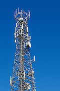 Urban provincial  cellular, microwave and telecom communications systems lattice tower in Port Macquaire, New South Wales, Australia. <br />