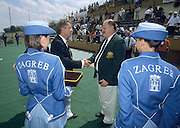 Zagreb, CROATIA.  Right AUS. team manger Peter HUGGETT receives congratulations from FISA President Donald OSWALD. 2000 FISA World Rowing Junior & Non-Olympic Seniors Championships   [Mandatory Credit Peter Spurrier/Intersport Images]