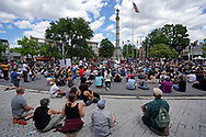 """Hundreds of protesters turned out June 7, 2020, for a Black Lives Matter """"Circle of Peace"""" protest at Centre Square in Easton, Pennsylvania. (Photo by Matt Smith)"""