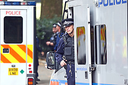 A policeman attends the scene near the Houses of Parliament, Westminster in central London, after a car crashed into security barriers outside the Houses of Parliament.