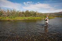 Fish on!.Kanektok River..Shot in Alaska, USA