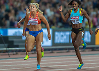 Athletics - 2017 IAAF London World Athletics Championships - Day Eight, Evening Session<br /> <br /> Womens 200m Final<br /> <br /> Dafne Schippers (Netherlands) crosses the line first and retains her world title at the London Stadium<br /> <br /> COLORSPORT/DANIEL BEARHAM