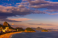 High angle view of   Avenida Atlantica and Copacabana Beach with Sugarloaf Mountain behind, Rio de Janeiro, Brazil.