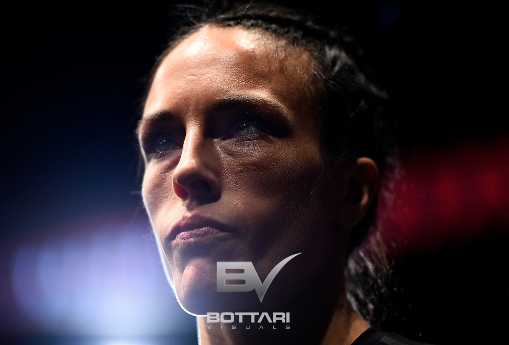 TORONTO, CANADA - DECEMBER 10:  Valerie Letourneau of Canada prepares to enter the Octagon prior to her women's strawweight bout against Viviane Pereira of Brazil during the UFC 206 event inside the Air Canada Centre on December 10, 2016 in Toronto, Ontario, Canada. (Photo by Jeff Bottari/Zuffa LLC/Zuffa LLC via Getty Images)