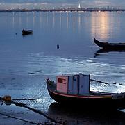 Fishing boats anchored at Tagus River
