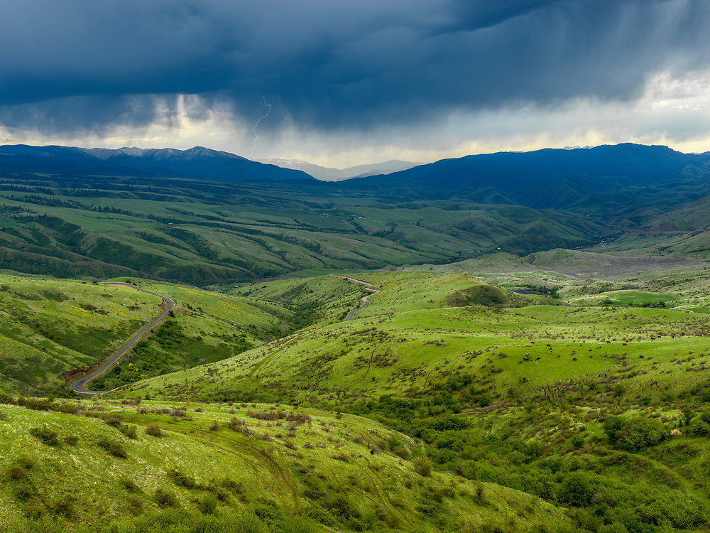 White Bird Pass on Highway 95 which runs the length of Idaho North to South with lush Spring Green and Lightning Storm along skyline.  Licensing and Open Edition Prints.