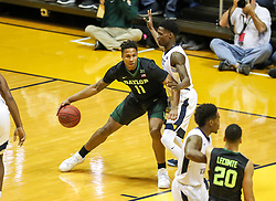 Jan 9, 2018; Morgantown, WV, USA; Baylor Bears forward Mark Vital (11) dribbles during the first half against the West Virginia Mountaineers at WVU Coliseum. Mandatory Credit: Ben Queen-USA TODAY Sports