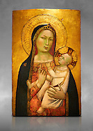 Gothic altarpiece of Madonna and Child by Bernardo Daddi, circa 1340-1345, tempera and gold leaf on wood.  National Museum of Catalan Art, Barcelona, Spain, inv no: MNAC  212806. Against a grey art background. . .<br /> <br /> If you prefer you can also buy from our ALAMY PHOTO LIBRARY  Collection visit : https://www.alamy.com/portfolio/paul-williams-funkystock/gothic-art-antiquities.html  Type -     MANAC    - into the LOWER SEARCH WITHIN GALLERY box. Refine search by adding background colour, place, museum etc<br /> <br /> Visit our MEDIEVAL GOTHIC ART PHOTO COLLECTIONS for more   photos  to download or buy as prints https://funkystock.photoshelter.com/gallery-collection/Medieval-Gothic-Art-Antiquities-Historic-Sites-Pictures-Images-of/C0000gZ8POl_DCqE