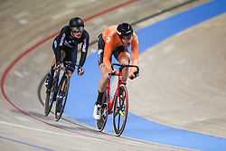 March 2, 2019 - Pruszkow, Poland - Jan-Willem van Schip of the Netherlands (R) and Campbell Stewart (NZL) compete in the Men's Omnium on day four of the UCI Track Cycling World Championships held in the BGZ BNP Paribas Velodrome Arena on March 02 2019 in Pruszkow, Poland. (Credit Image: © Foto Olimpik/NurPhoto via ZUMA Press)