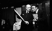 Michael Mac'Liamoir and Hilton Edwards.<br /> 1972.<br /> 27.10.1972.<br /> 10.27.1972.<br /> 27th October 1972.<br /> <br /> Image shows Michael Mac'Liamoir and his long time partner, Hilton Edwards, at the Irish Actors Equity Awards in the Gresham Hotel, Dublin.