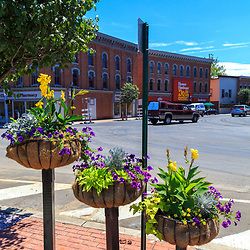 Troy, PA - July 26, 2016: Unusual planters in the downtown area of Troy, a borough in western Bradford County, Pennsylvania.