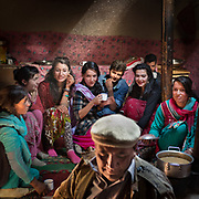 Boys and girls meeting at a village wedding, Chapursan valley.