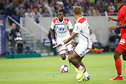 Traore Bertrand of Lyon and Depay Memphis of Lyon during the French championship L1 football match between Olympique Lyonnais and Amiens on August 12th, 2018 at Groupama stadium in Decines Charpieu near Lyon, France - Photo Romain Biard / Isports / ProSportsImages / DPPI