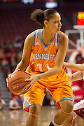 Jan 8, 2012; Fayetteville, AR, USA; Tennessee Lady Volunteers forward Cierra Burdick (11) looks to make a pass during a game against the Arkansas Razorbacks at Bud Walton Arena. Tennessee defeated Arkansas 69-38. Mandatory Credit: Beth Hall-US PRESSWIRE