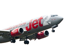 The Jet2 plane with the name Jet2 Corfu on approach to Edinburgh airport..©Pic : Michael Schofield.