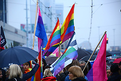 October 3, 2017 - Warsaw, Poland - Masses of women hold manifestation for abortion rights and equality, wearing a long blue symbolic banner and black umbrellas through the heart of Warsaw. (Credit Image: © Jakob Ratz/Pacific Press via ZUMA Wire)