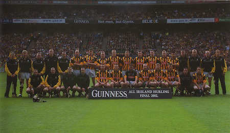 Kilkenny-All-Ireland Hurling Champions 2002. Back Row: Tommy Walsh, John Power, P J Ryan, James Ryall, Brian McEvoy, Andy Comerford ( capt), Martin Comerford, Noel Hickey, Henry Shefflin, John Hoyne, Derek Lyng, Jimmy Coogan, Peter Barry, Philly Larkin, Sean Dowling, Paul Cahill, Walter Burke, Diarmuid Mackey. Front Row: Charlie Carter, Steven Grehan, Aidan Cummins, Alan Geoghegan, Eddie Brennan, Michael Kavanagh, James McGarry, D J Carey, J J Delaney, Richie Mullaly, Brian Dowling, Pat Tennyson.