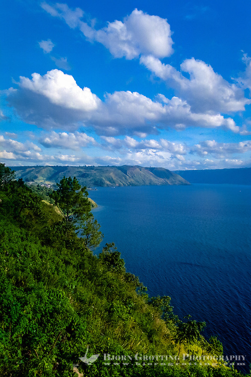 Indonesia, Sumatra. Toba. View of the Toba Lake from the mainland, Parapat side looking south. Parapat is located at the bottom of the bay to the left.