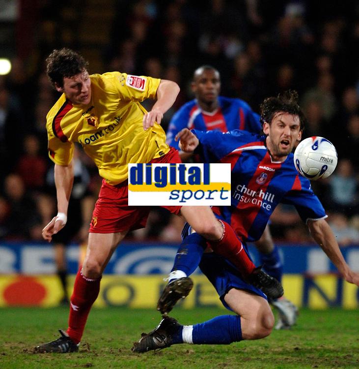 Photo: Daniel Hambury.<br />Crystal Palace v Watford. Coca Cola Championship. 31/03/2006.<br />Palace's Tony Popovic and Watford's Darius Henderson  (L) battle.