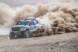 Nasser Al-Attiyah (QAT) of Toyota Gazoo Racing SA races during stage 4 of Rally Dakar 2019 from Arequipa to Tacna, Peru on January 10, 2019. // Flavien Duhamel/Red Bull Content Pool // AP-1Y3A65EUW2111 // Usage for editorial use only // Please go to www.redbullcontentpool.com for further information. //