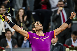 May 11, 2017 - Madrid, Madrid, Spain - RAFAEL NADAL (ESP) celebrates his victory over Nick Kyrgios (AUS) in round 3 of the 'Mutua Madrid Open' 2017.. Nadal won 6:3, 6:1 (Credit Image: © Matthias Oesterle via ZUMA Wire)