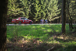 The early break rides through one of the many forests during Liege-Bastogne-Liege - a 136 km road race, between Bastogne and Ans on April 22, 2018, in Wallonia, Belgium. (Photo by Balint Hamvas/Velofocus.com)