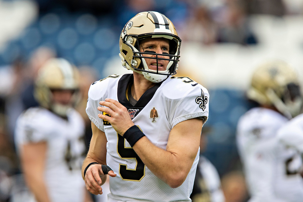 NASHVILLE, TN - DECEMBER 22:  Drew Brees #9 of the New Orleans Saints warms up before a game against the Tennessee Titans at Nissan Stadium on December 22, 2019 in Nashville, Tennessee. The Saints defeated the Titans 38-28.  (Photo by Wesley Hitt/Getty Images) *** Local Caption *** Drew Brees