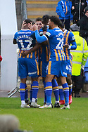 First goal scored by Shrewsbury Town's Greg Docherty during the The FA Cup fourth round match between Shrewsbury Town and Wolverhampton Wanderers at Greenhous Meadow, Shrewsbury, England on 26 January 2019.