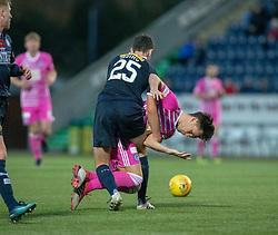 Falkirk's Andrew Irving holds Ayr United's Lawrence Shankland. Falkirk 0 v 1 Ayr United, Scottish Championship game played 3/11/2018 at The Falkirk Stadium.