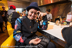 Casmin of 420 Kustoms in Japan at the Mooneyes Yokohama Hot Rod & Custom Show after-party at Mooneyes headquarters. Yokohama, Japan. December 7, 2015.  Photography ©2015 Michael Lichter.