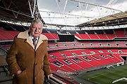 Mcc0082804 . Daily Telegraph<br /> <br /> DT Sport<br /> <br /> Football Commentator John Motson photographed at Wembley Stadium .<br /> <br /> London 1 May 2018