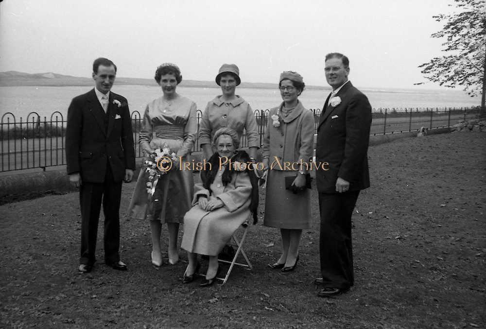 08/10/1959<br /> 10/08/1959<br /> 08 October 1959<br /> Wedding:Kenny - Colgan  (Muriel? and Tommy) at Church of St. Vincent de Paul, Griffith Avenue and the Grand Hotel, Malahide, Dublin. The wedding party at the Hotel.