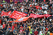 Liverpool fans look on.  Premier league match, West Ham Utd v Liverpool at the London Stadium, Queen Elizabeth Olympic Park in London on Sunday 14th May 2017.<br /> pic by Steffan Bowen, Andrew Orchard sports photography.