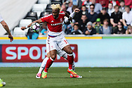 Adama Traore of Middlesbrough in action. Premier league match, Swansea city v Middlesbrough at the Liberty Stadium in Swansea, South Wales on Sunday 2nd April 2017.<br /> pic by Andrew Orchard, Andrew Orchard sports photography.